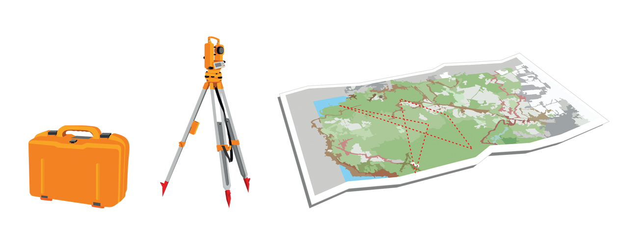 Illustration of some land survey equipment and a map